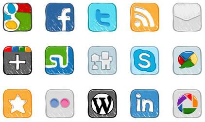 Hand Drawn Social Media Icons by rafiqelmansy