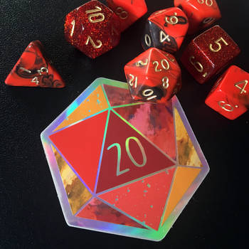 d20 Nat 20 - Holographic Sticker by Schlady