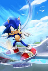 Sonic Unleashed in Apotos by mazjojo