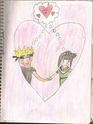 Naruto and Hinata in heart by catcat7077