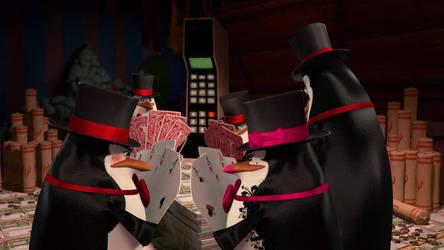 Me and Penguins playing cards by SkippinaMariaJJNove