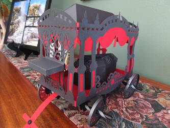 3D Paper carriage hearse  with coffin front d view by BlackTreeCo