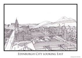 Balmoral Hotel, North Bridge and Arthurs Seat by AHamiltonSketches