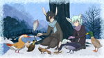 Hungry Winter Friends by PatiLee