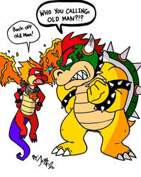 Hooktail Jr and Bowser by DragonTeens