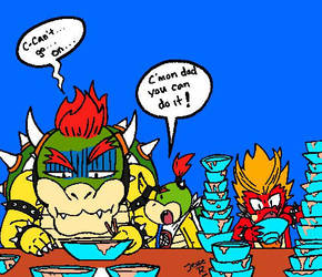 Mario Party Bowser vs Hooktail Jr eating contest by DragonTeens