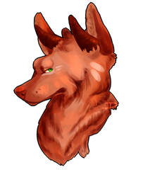 red wolf with horns by pixelpoptart