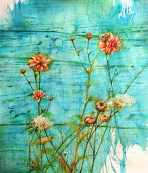 wildflowers and a blue wall by czochanska