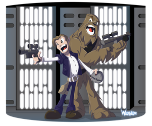 Han and Chewie on the Death Star by Odd-Voodoo