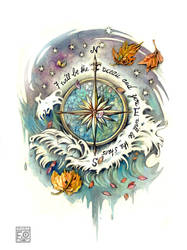 wind rose tattoo commission by Asfahani