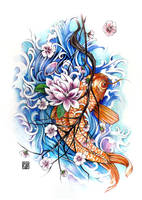 Tattoo Commission Koi and Blossoms by Asfahani