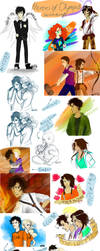 Heroes of Olympus sketchdump by Vanilla-Fireflies