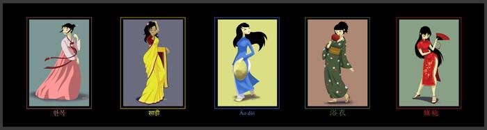 5 Dresses of Asia by Plushpenguin