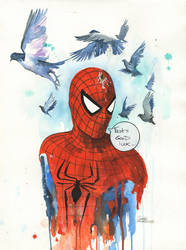 Good Luck, Spidey by lora-zombie
