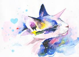 UNICORN SPACE CAT by lora-zombie