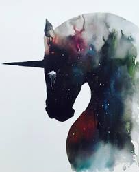 Dark Unicorn full of infinite space by lora-zombie