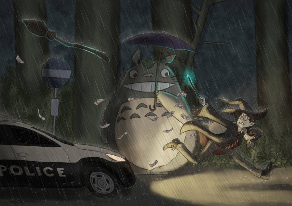 Harry at Totoro's bus stop, robbing a bank by Synerese