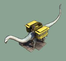 Dinotopia  - Apatosaurus School bus by AjamsDraws