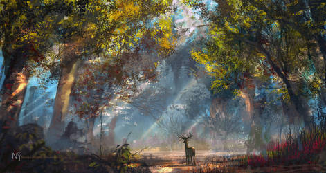 Daily spitpaint - Rainbow Forest by novaillusion