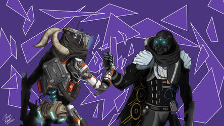 Pilot and Guardian Handshake by j0hnnyblade