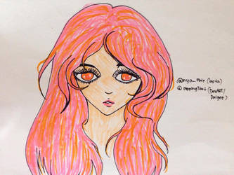Pink-orange-haired girl drawing (?) by PoppingTart