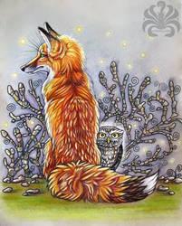 Fox and Owl by Kitsune-Inari-sama