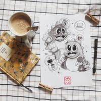 Inktober D1: Bubble Bobble by kuma-panda