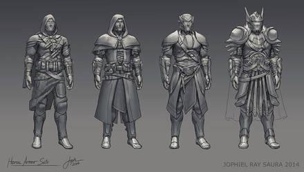 heroic armor sets by jophiels on deviantart