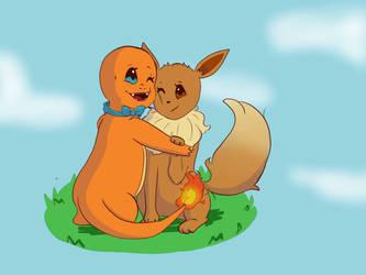 Llama and Eevee by Nadieewe