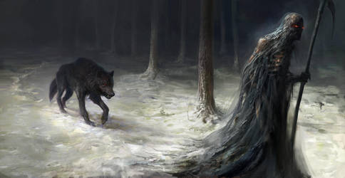 Wolf and Death by Manzanedo