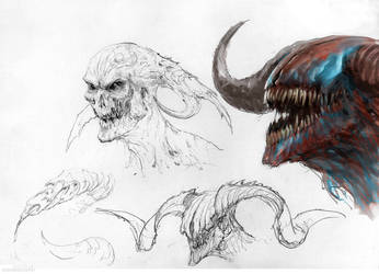 Demons sketches by Manzanedo