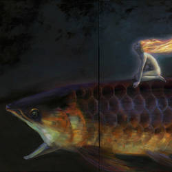 Huge Fish (detail) oil on canvas, 72 x 144 inches by jialu