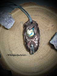 Phantom Quartz and Labradorite gemstone pendant by WhisperJack