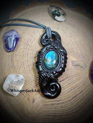 Polymer clay crystal jewelry, labradorite necklace by WhisperJack