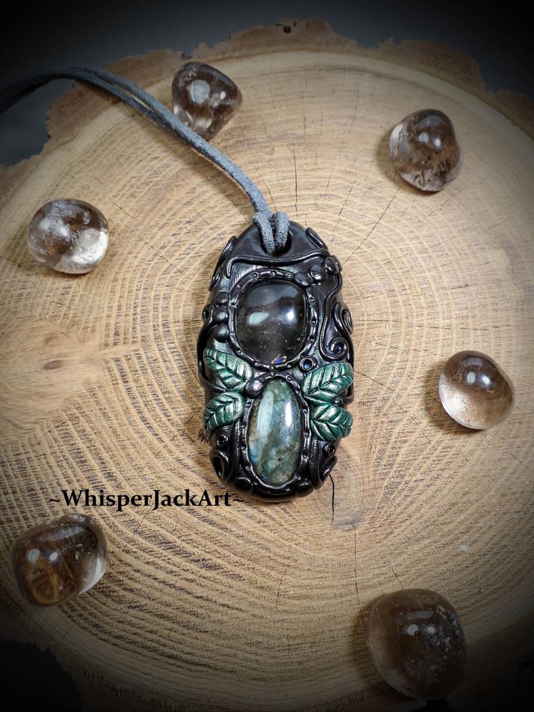 Smoky Quartz and Labradorite gemstone necklace by WhisperJack