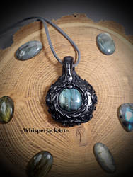 Polymer clay crystal pendant, labradorite necklace by WhisperJack
