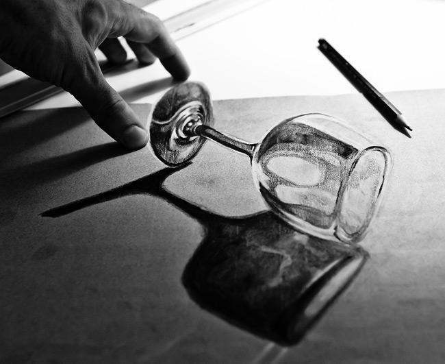 Transparent Glass 3D anamorphic drawing tutorial by PitGraf