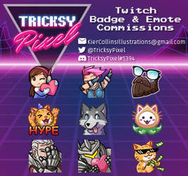 Twitch Badge and Emote Commissions by TricksyPixel