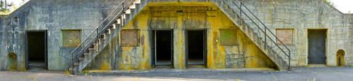 Bunker Panorama with Multiple Doorways by happeningstock