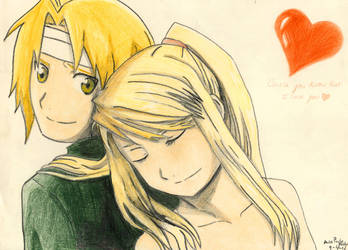 Fma drawings - Ed and Winry by mangaslover