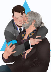 COMMISSION: HANK and CONNOR DETROIT:BECOME HUMAN by MartinaSaviane