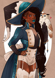 Doodle: Witch with her little owl by MartinaSaviane