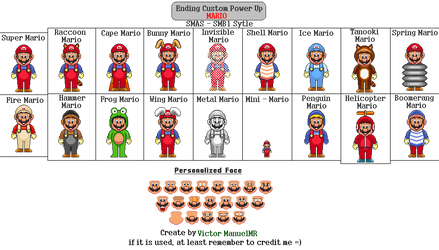 SMAS - SMB1 : Ending Custom Power Up - Mario by VictorManuelMR