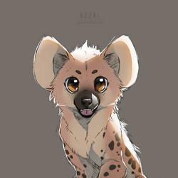 hyena pup sketch by azzai