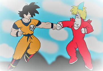 Goku vs CyberShark (Coloured) by alvaxerox