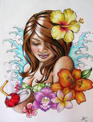 Hawaiian Hula Girl Tattoo Design by Frosttattoo