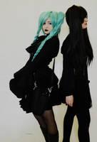 Gothic Hatsune and Zatsune Miku by MaxieGreen