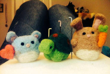 Needle felted mouse turtle and rabbit by SnoopyDragon