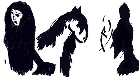 Horse, rokurokubi and witch by Rosselanor