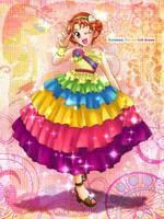 Rainbow tiered ruffle dress by su-ga-me